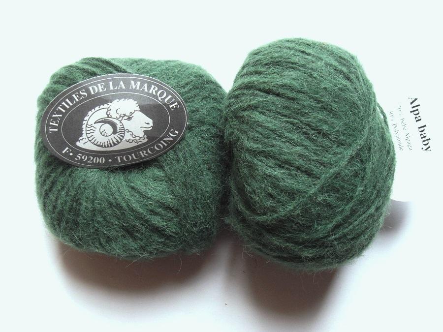 7cf0041343a 1 Pelote Alpa Baby 70 bébé alpaga vert forêt Textiles de la Marque ...