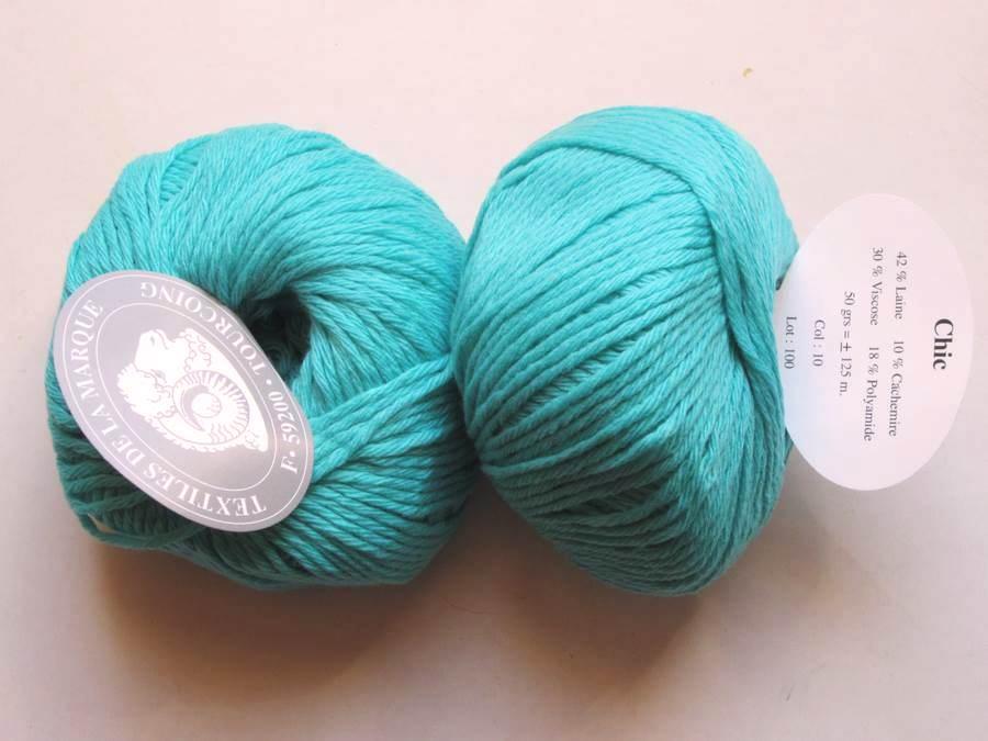 8f7dc231fdf7 1 Pelote Chic vert turquoise 10 lot 28 Textiles de la Marque ...