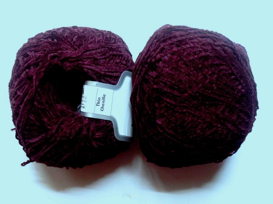 1 pelote velours chenille thin chenille grenat 46841 - Velours de laine ameublement ...